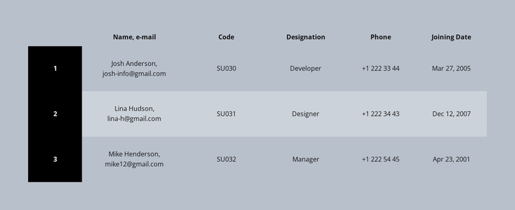 Color business table Website Builder