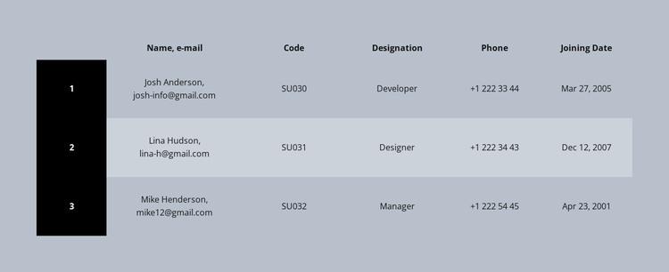 Color business table WordPress Theme