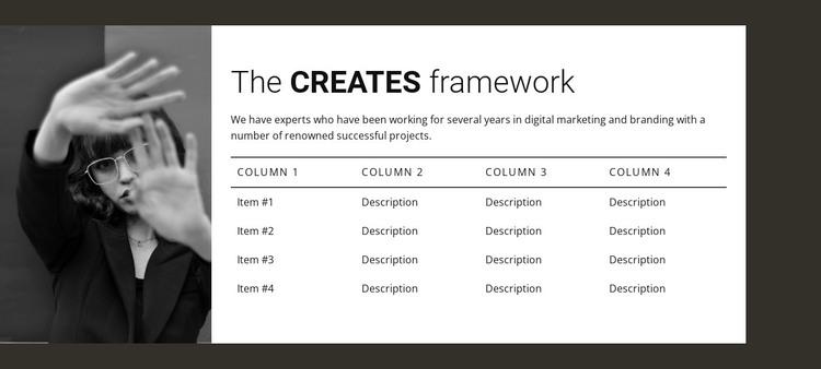 Table with image WordPress Theme