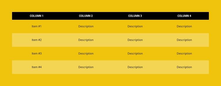 Color table Joomla Template