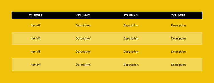 Color table Website Builder