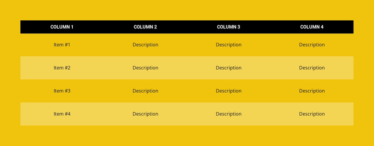 Color table Website Design