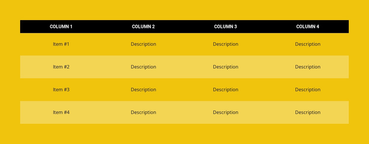 Color table Website Template