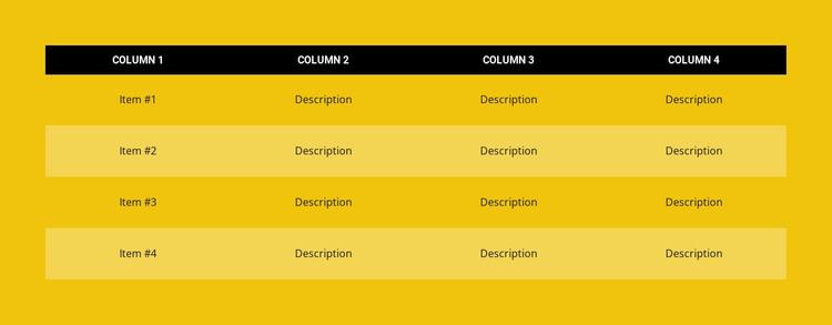 Color table WordPress Theme
