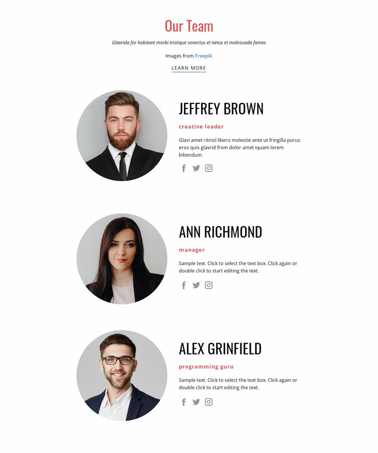 Our team of competent experienced employees Website Mockup