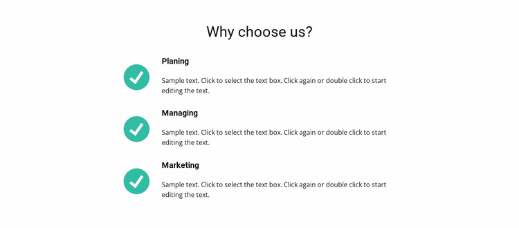 List of benefits Landing Page