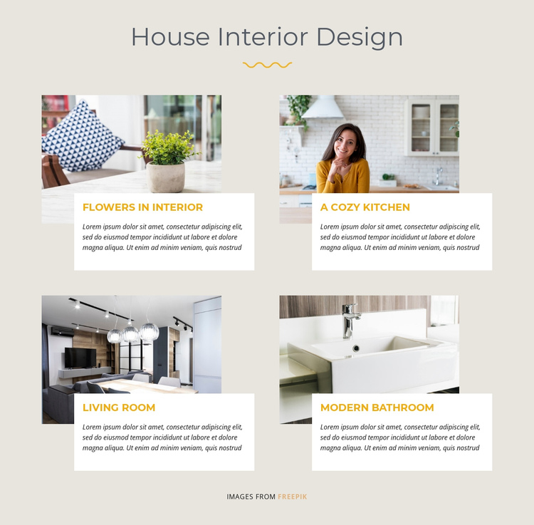 House Interior Design One Page Template