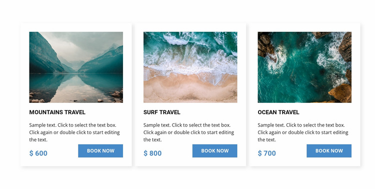 Ocean travel Website Builder