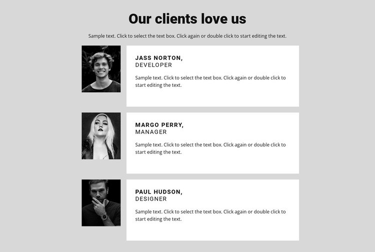 Our clients love us Html Code Example