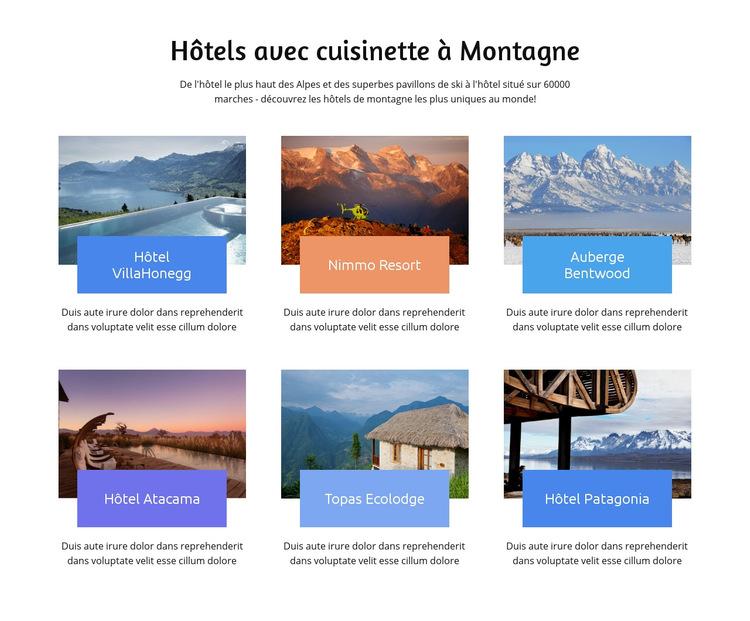 Des hôtels de montagne uniques Modèle de site Web