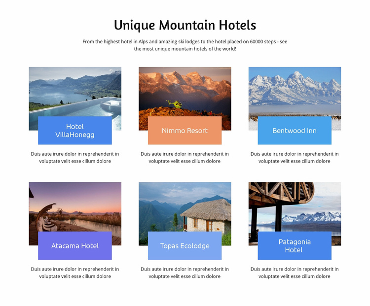 Unique Mountain Hotesls Landing Page