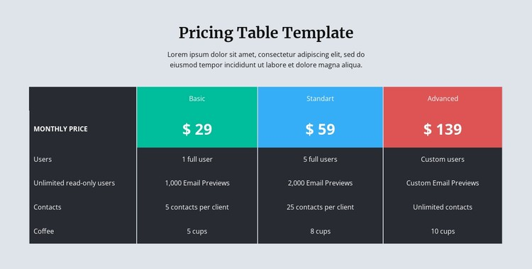 Pricing table with dark background Static Site Generator