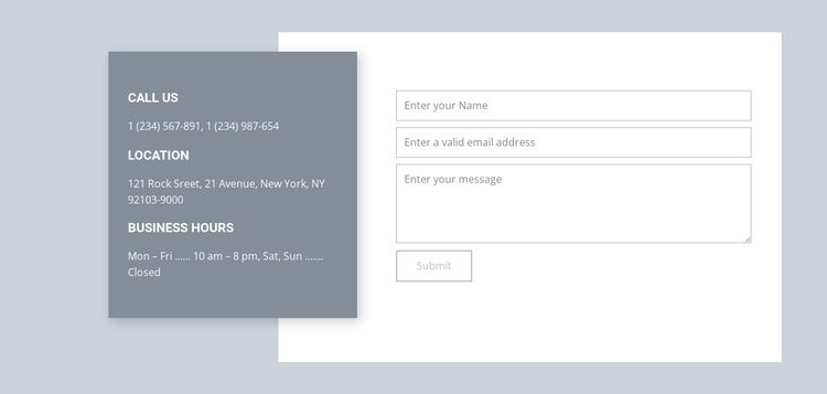 Our contacts One Page Template