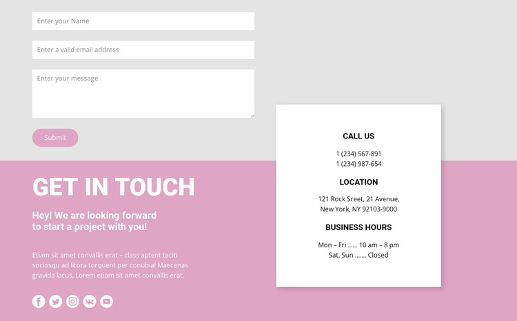 Our contacts and contact form HTML5 Template