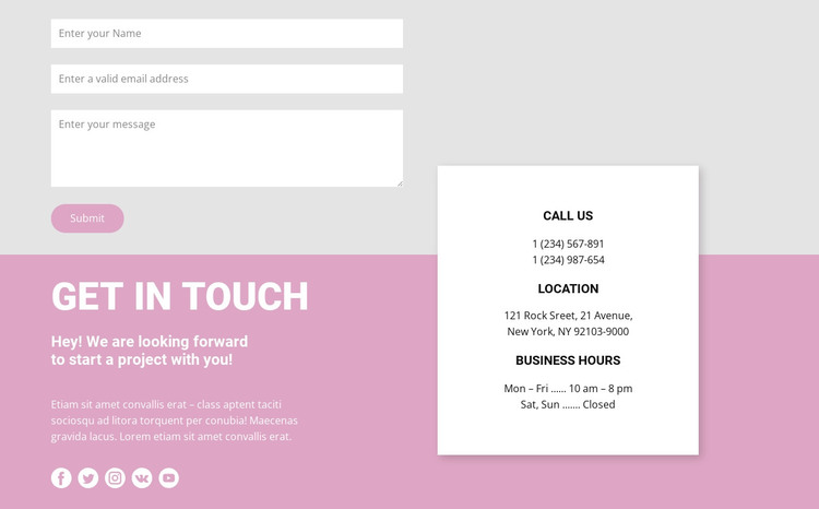 Our contacts and contact form Web Design