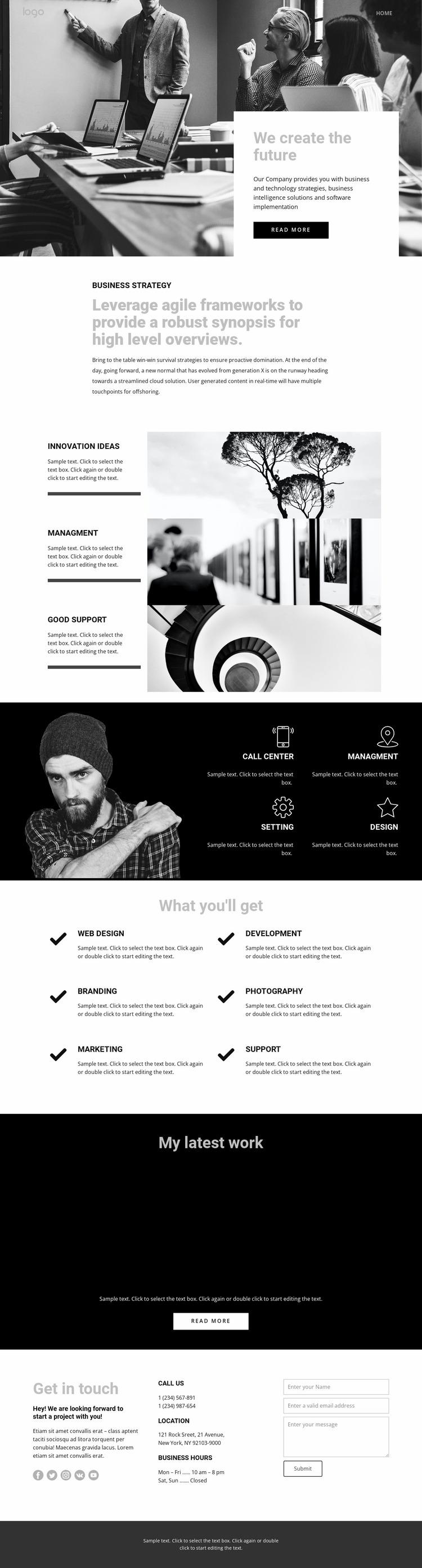 Future of corporate business Website Mockup