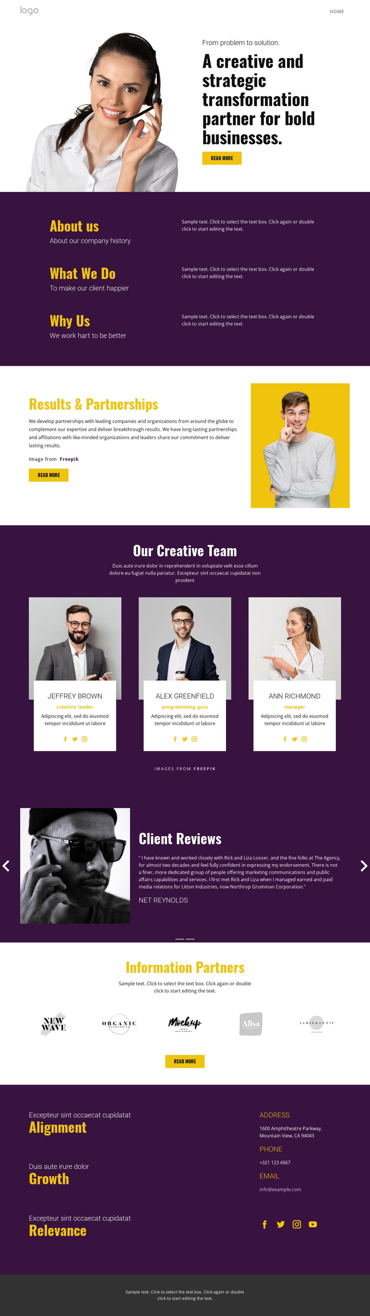 Creative strategy in business One Page Template