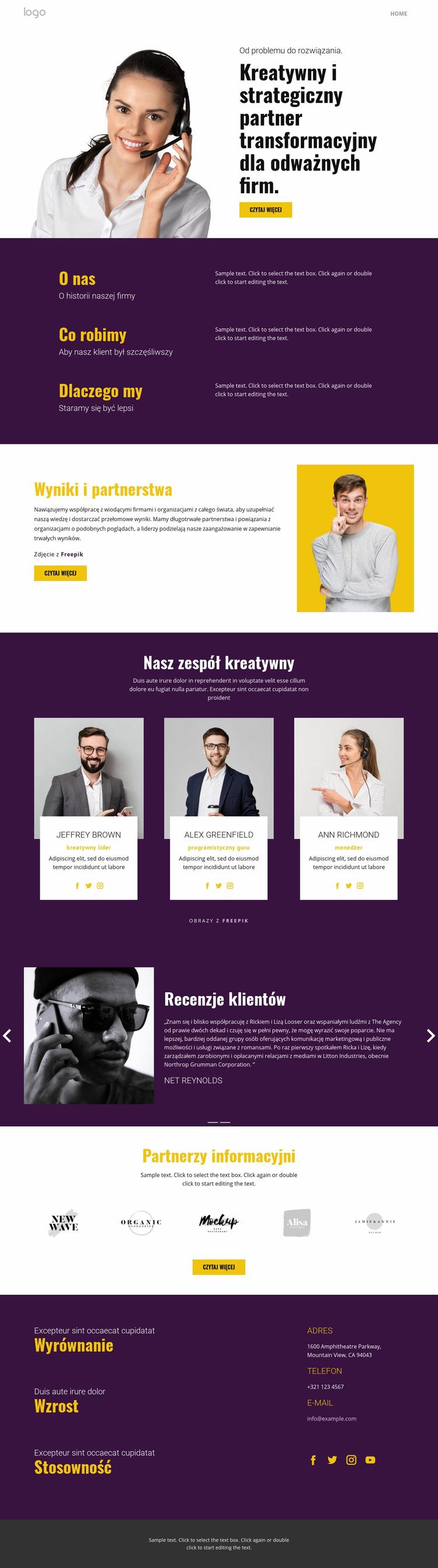 Kreatywna strategia w biznesie Szablon Joomla