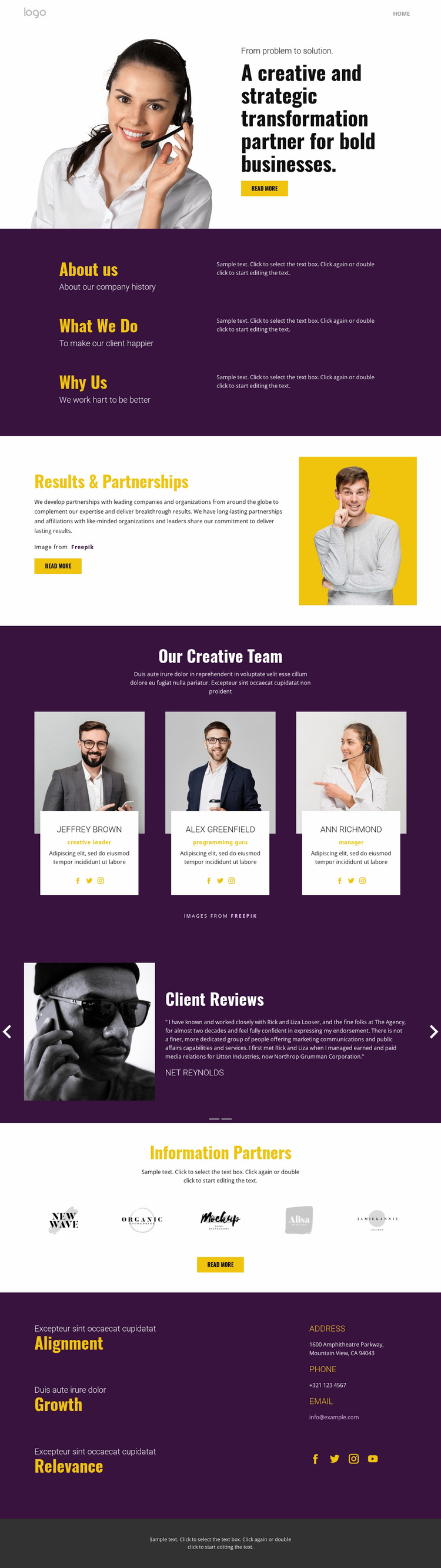Creative strategy in business Website Design