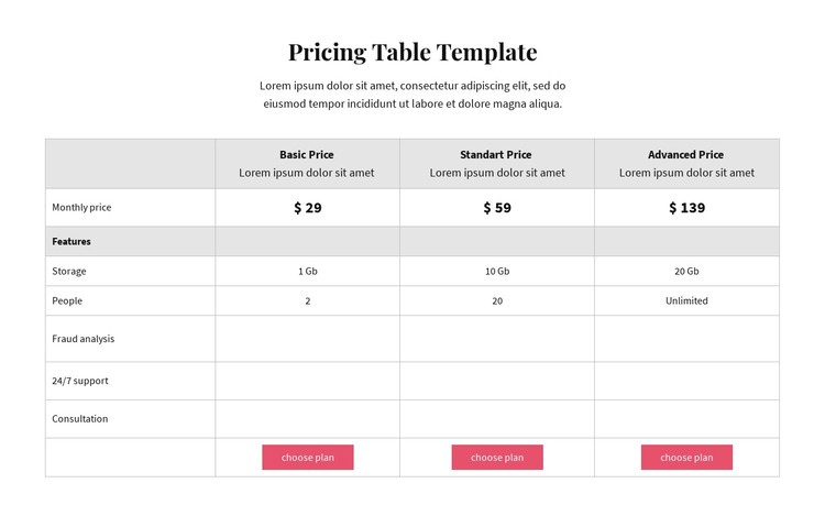 Pricing plans CSS Template