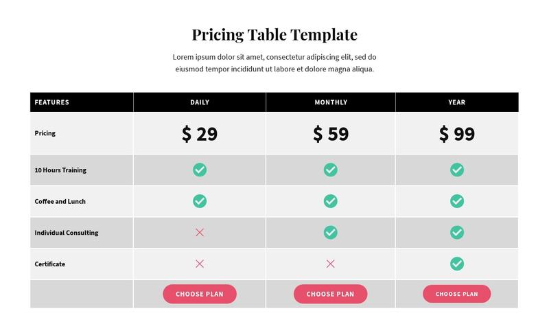 Picing Table Website Maker