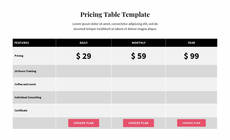 Picing Table Landing Page