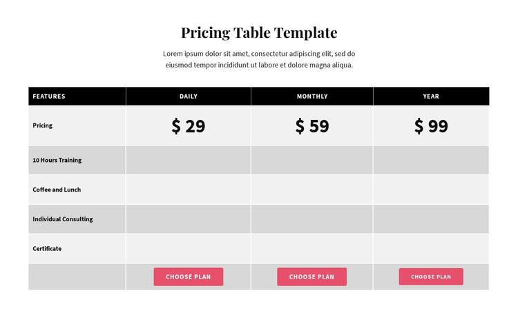 Picing Table WordPress Theme