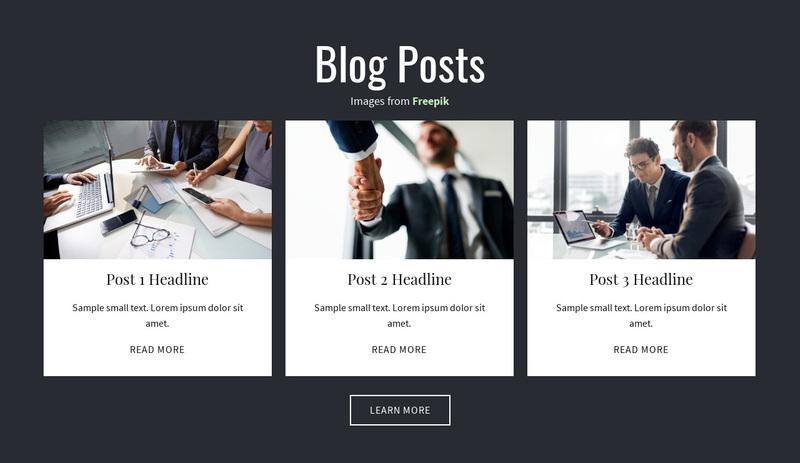 Blog Posts Web Page Design
