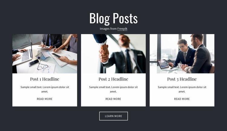 Blog Posts Website Mockup