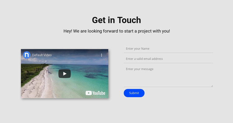Get in touch and video Website Template