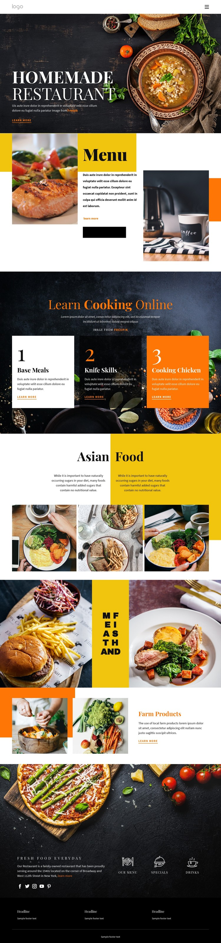 Better than home food CSS Template