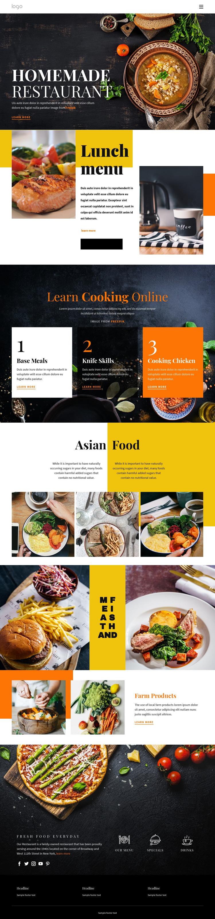 Better than home food Homepage Design