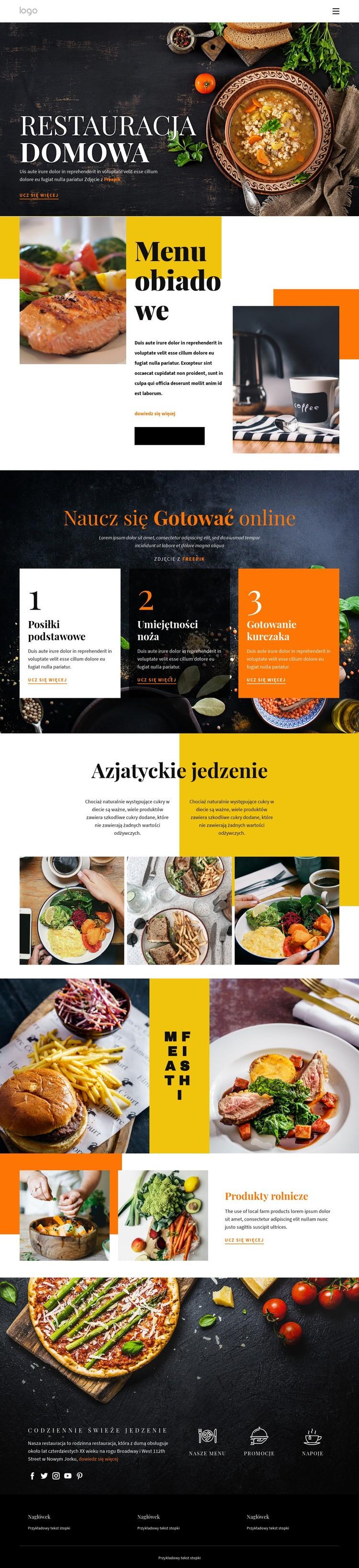 Lepsze niż domowe jedzenie Szablon witryny sieci Web