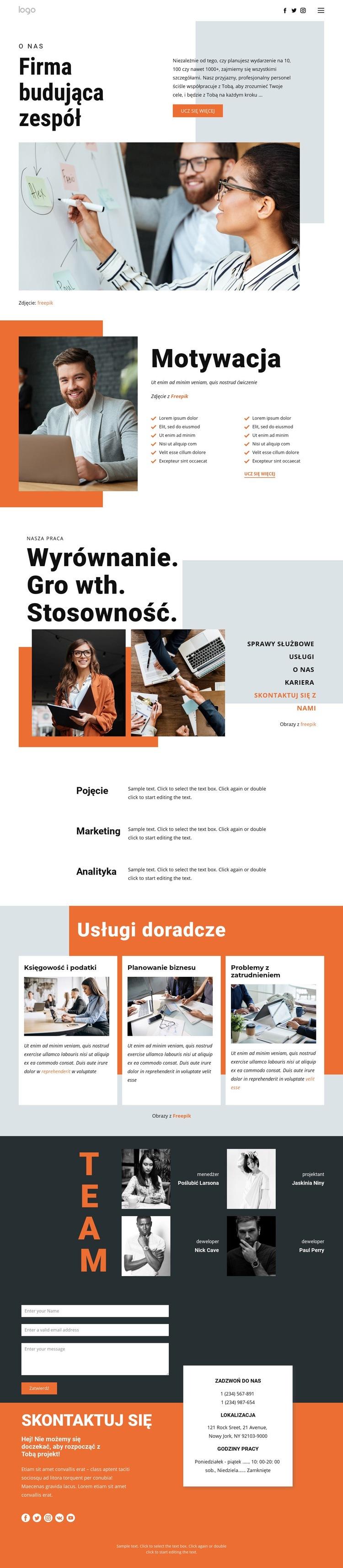 Budowanie zespołu dla biznesu Szablon witryny sieci Web