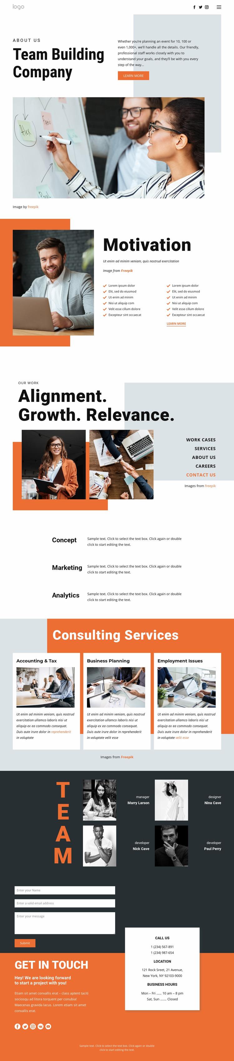 Team building for business Website Mockup