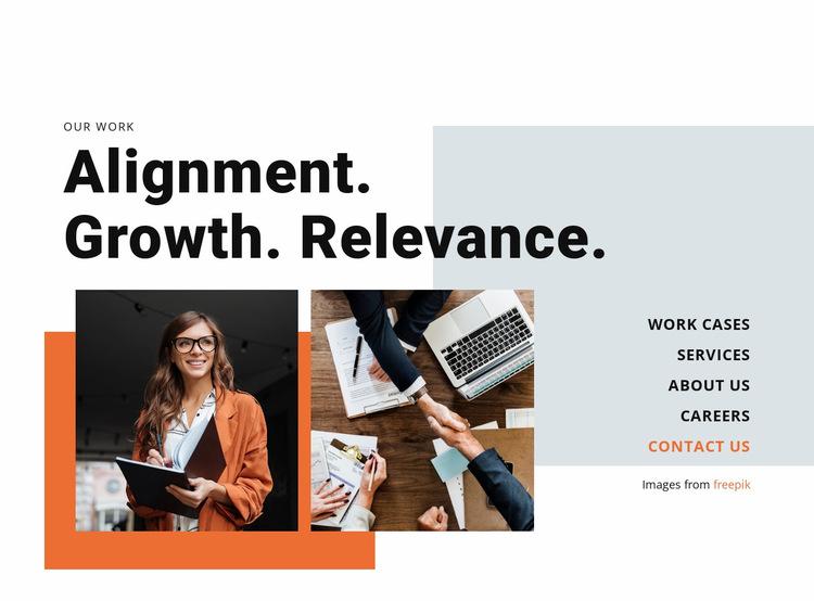 Alignment, Grow, Relevance Website Builder