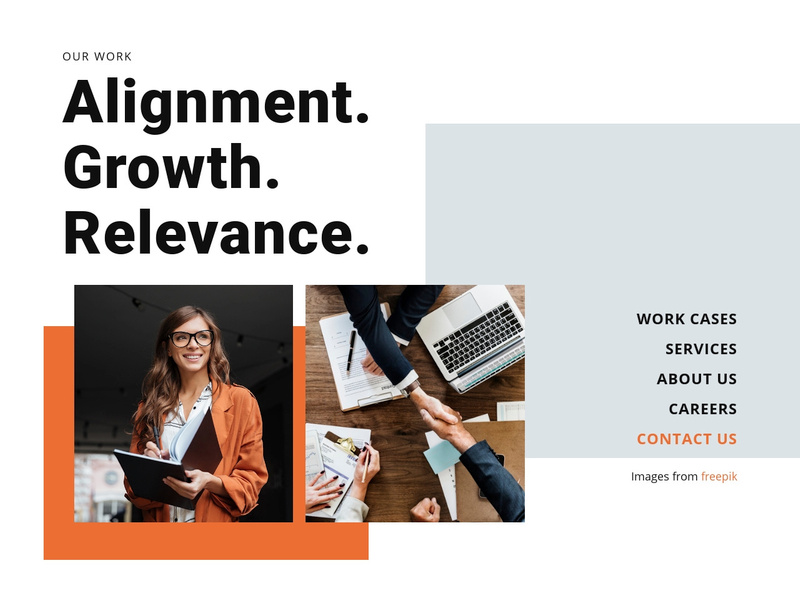 Alignment, Grow, Relevance Website Maker