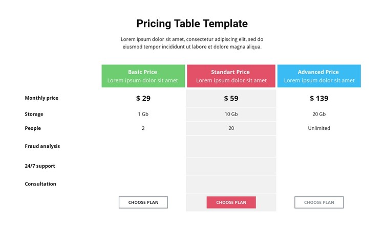 Pricing Table WordPress Template