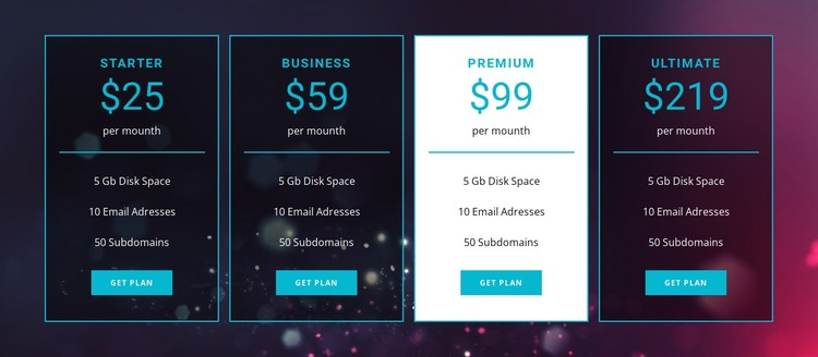 Business and premium plans CSS Template