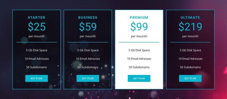 Business and premium plans Html Code
