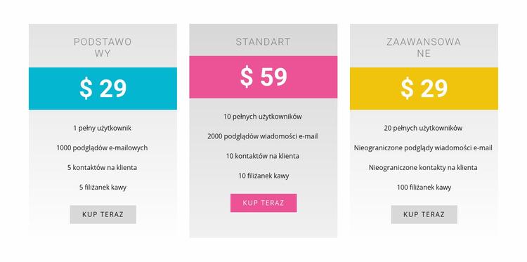 Plany podstawowe, standardowe i zaawansowane Szablon Joomla