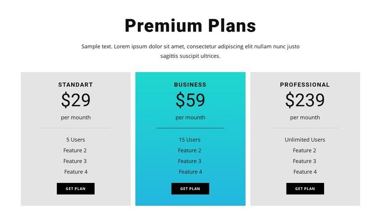 Premium Plans WordPress Template
