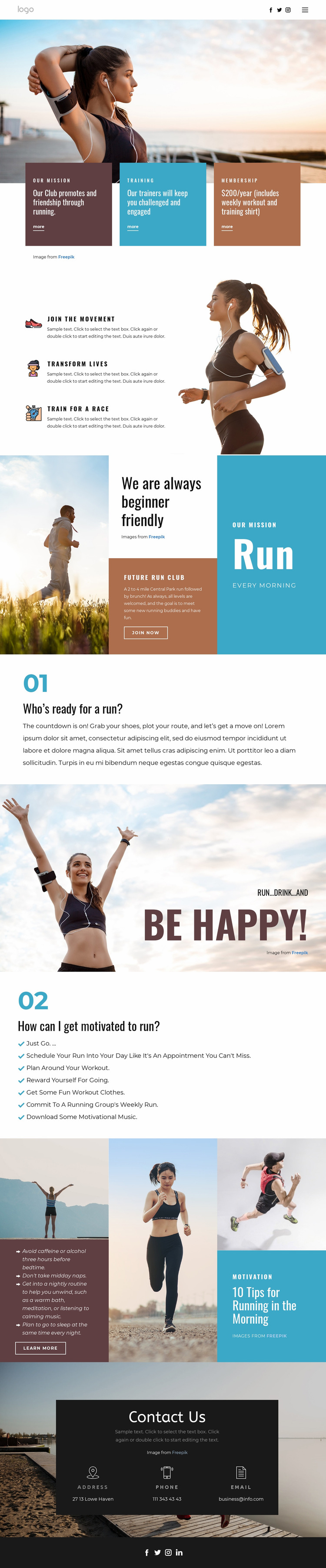 Running club for sports Web Page Design