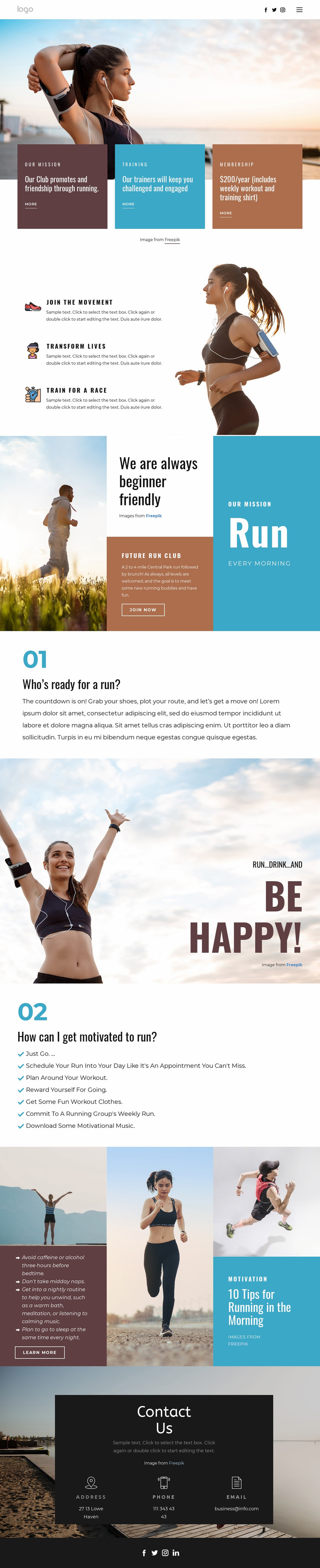 Running club for sports Website Mockup