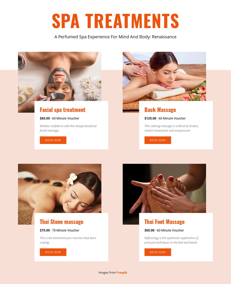 Different spa treatments Web Page Design