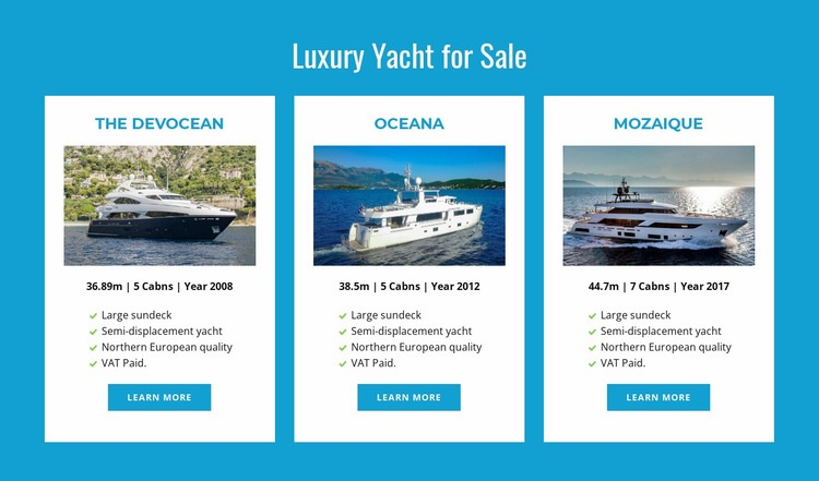 Luxury Yachts for Sale Html Code Example