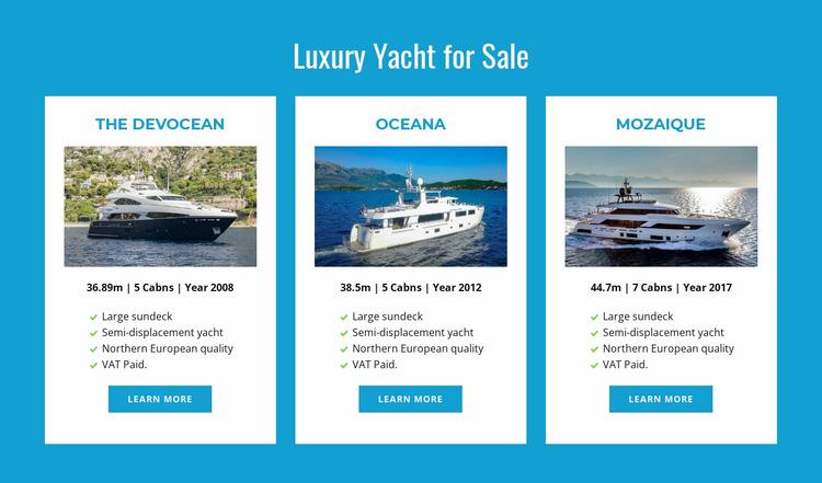 Luxury Yachts for Sale Website Mockup