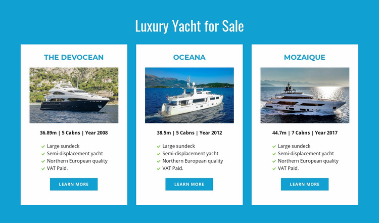 Luxury Yachts for Sale Website Template
