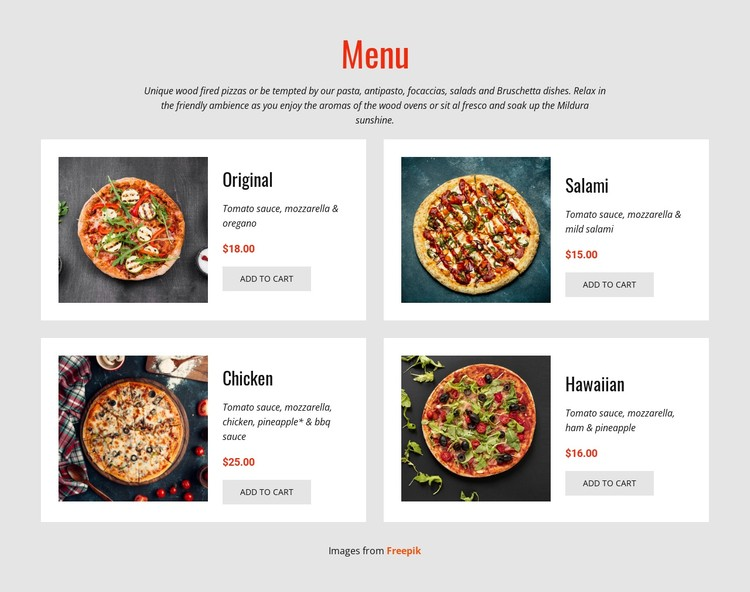 Pizza Online CSS Template