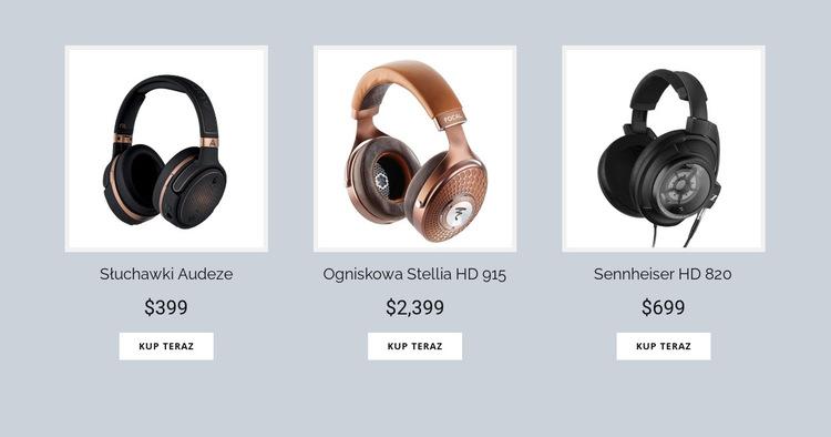 Kup słuchawki online Szablon witryny sieci Web